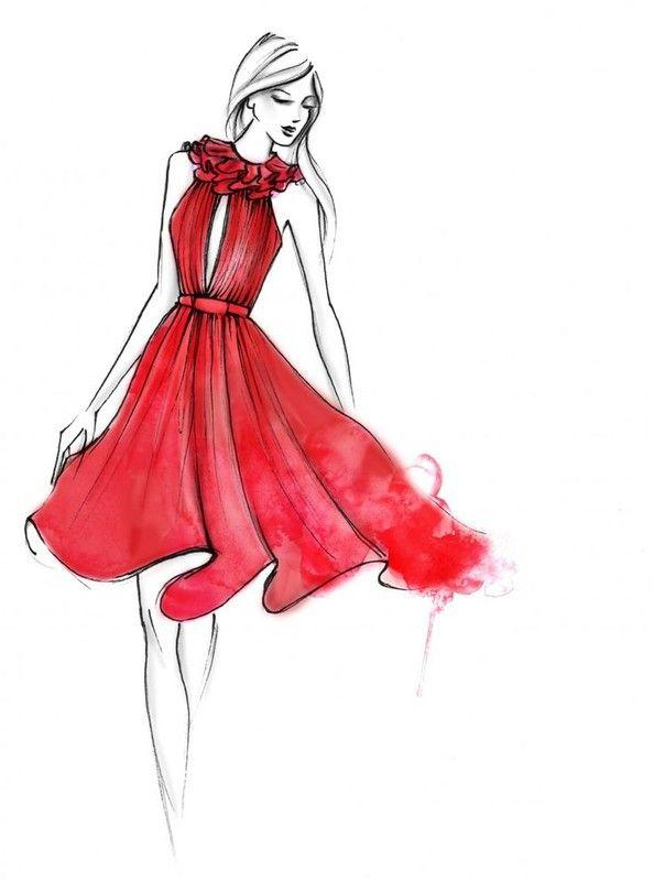 Dessin robe rouge