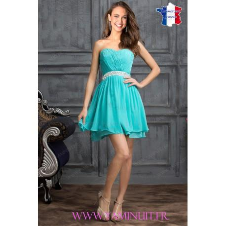 Robe bustier bleu turquoise