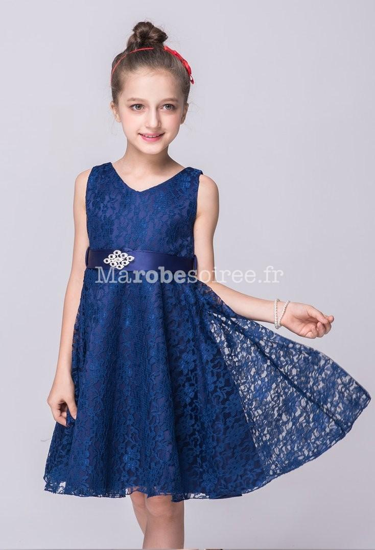 Robe ceremonie fille bleu marine