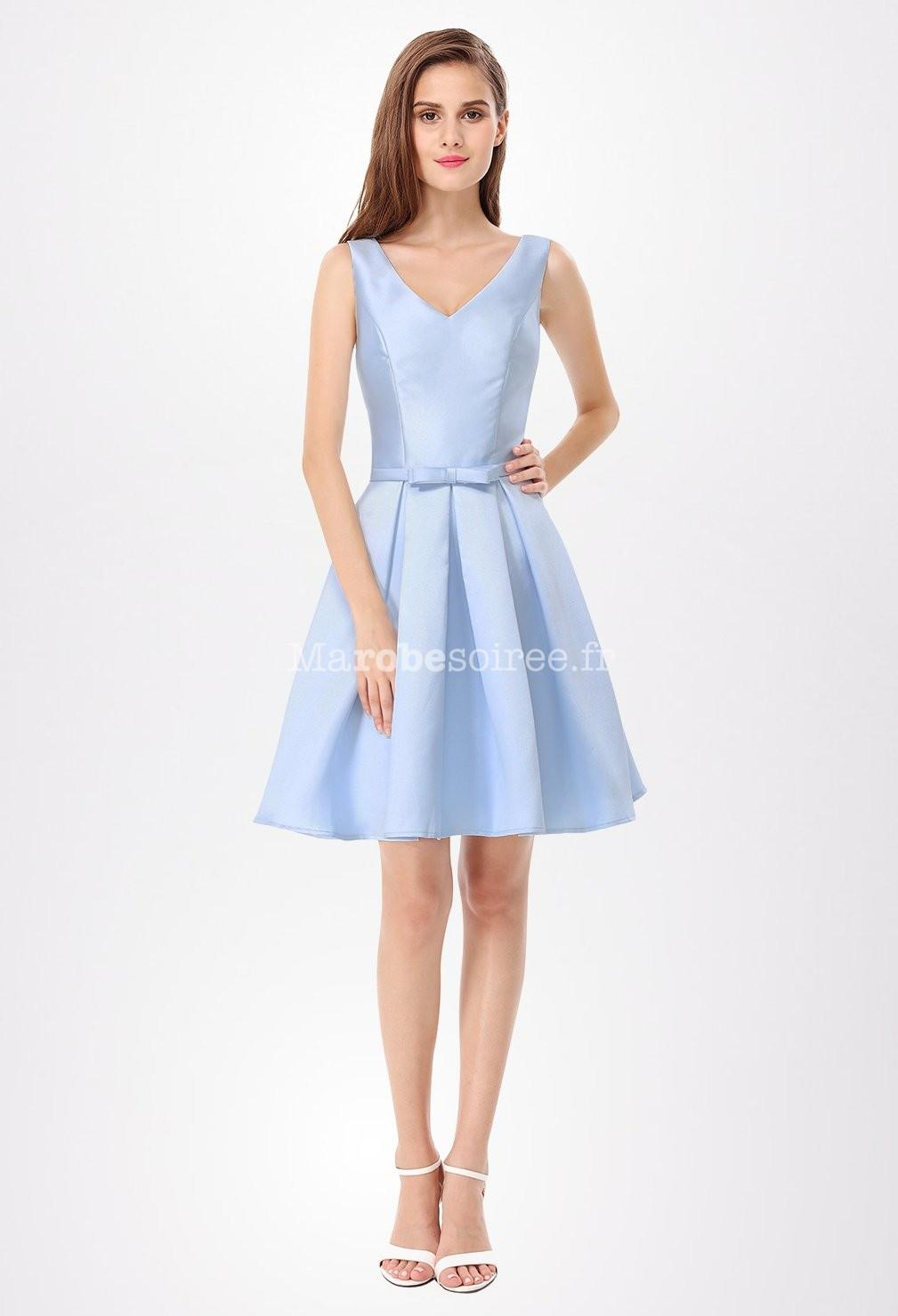 Robe cocktail bleu ciel