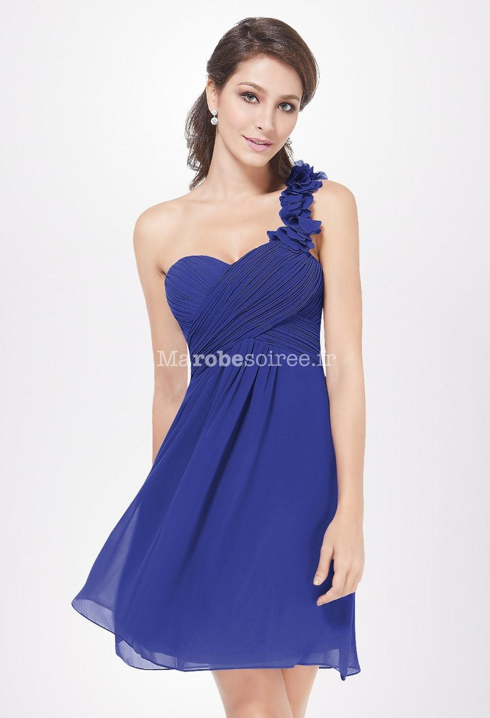 Robe cocktail courte bleu