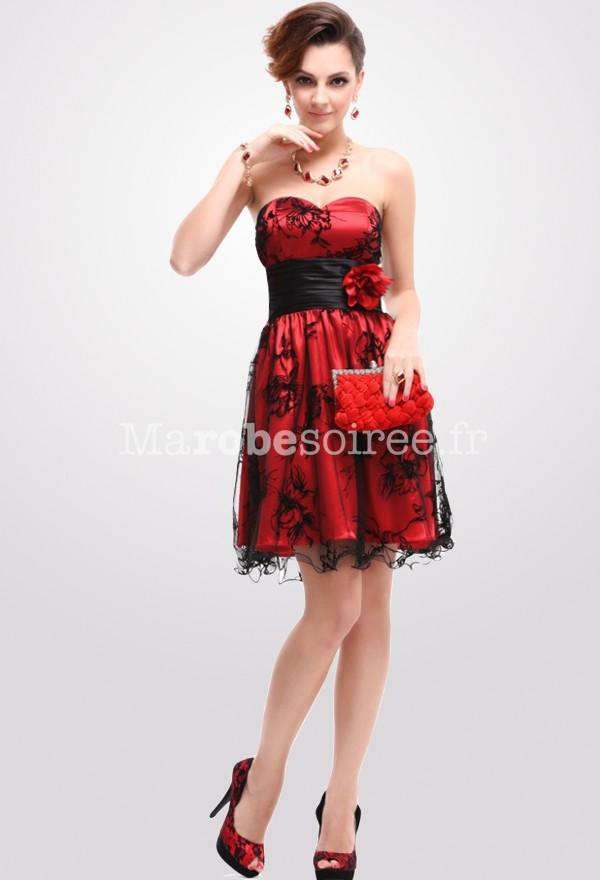 Robe cocktail rouge et noir