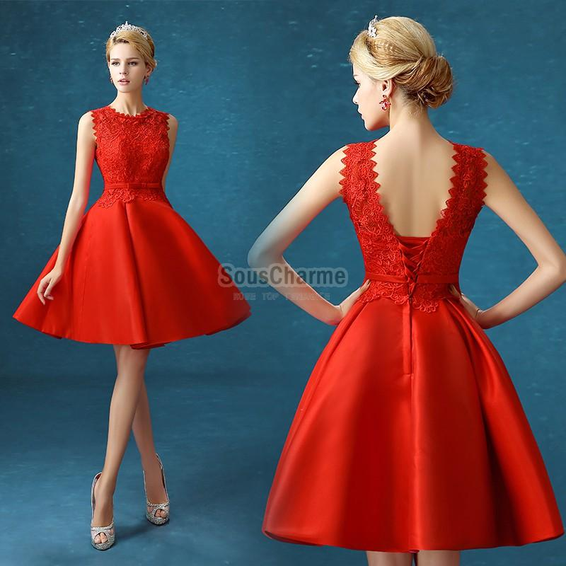 Robe cocktail rouge pas cher
