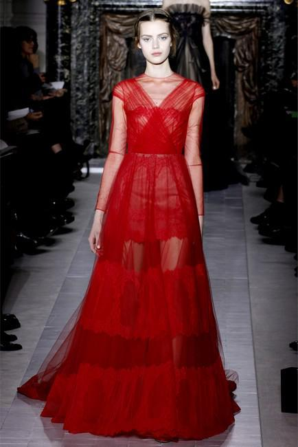 Robe haute couture rouge