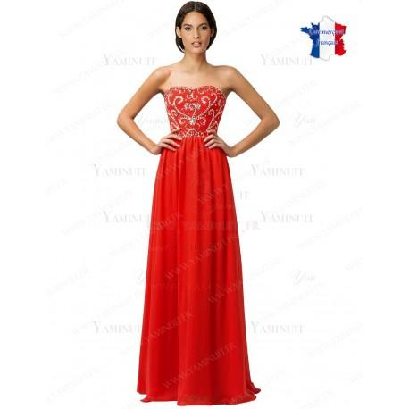 Robe longue rouge bustier