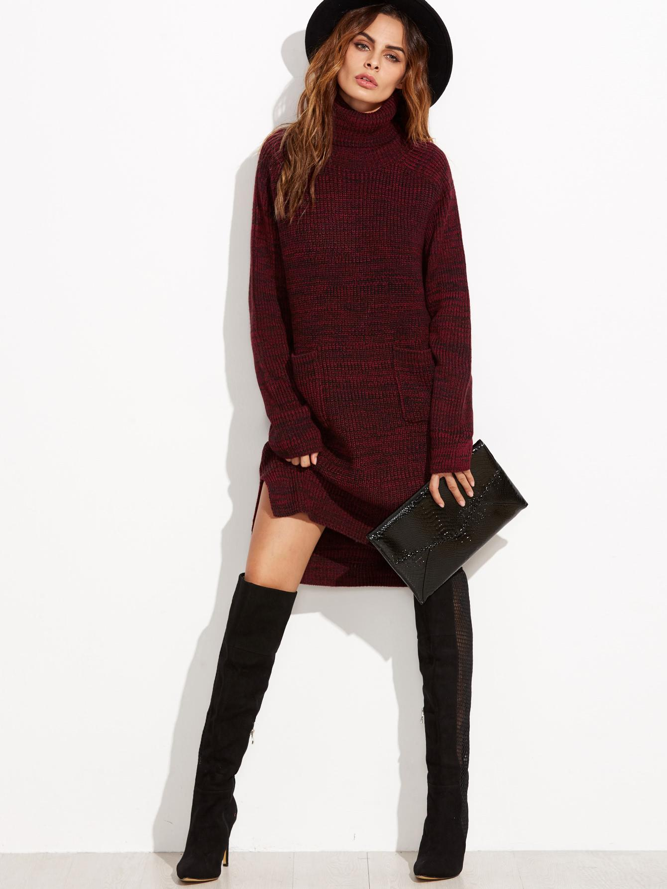 Robe pull rouge bordeaux