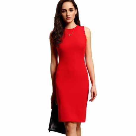 Robe rouge crayon