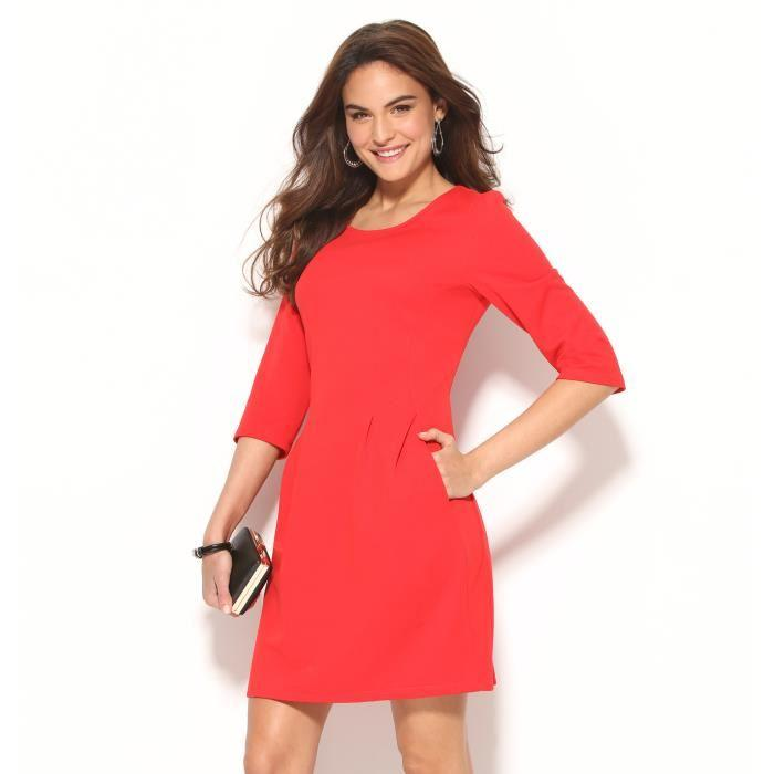 Robe rouge manches 3/4