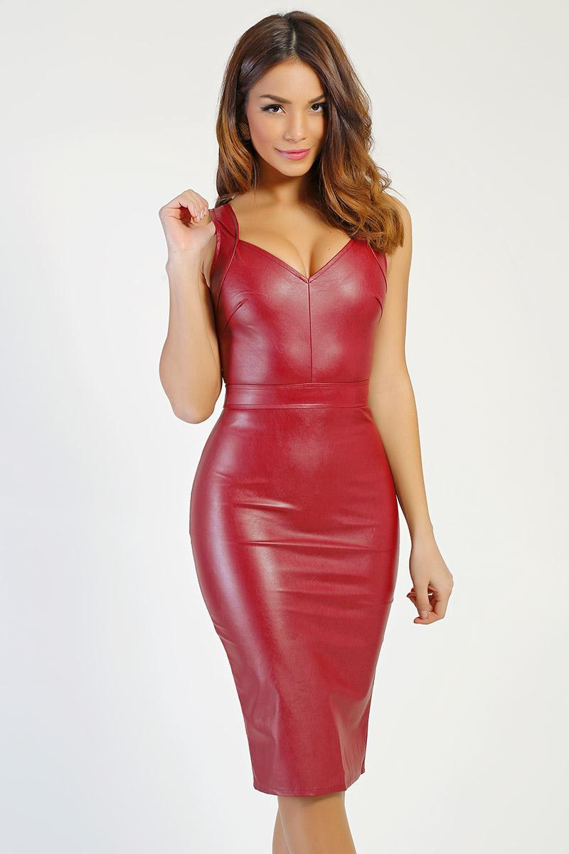 Robe simili cuir rouge