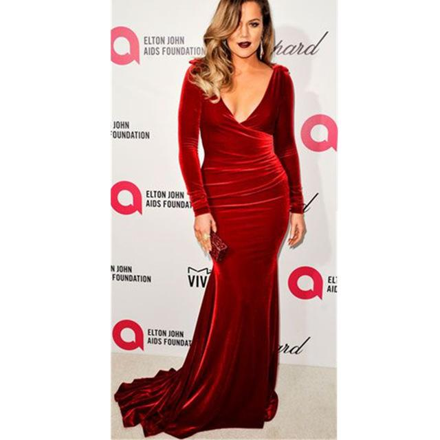 Robe velour rouge