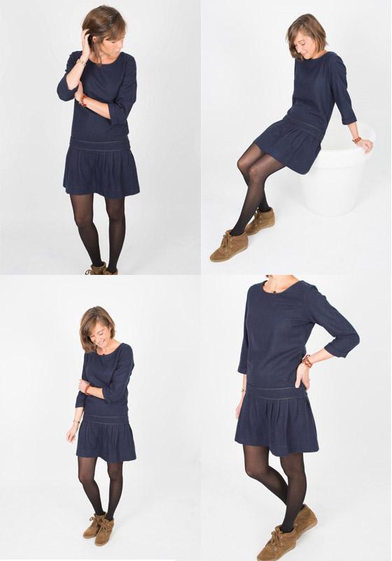 Collant avec robe bleu marine