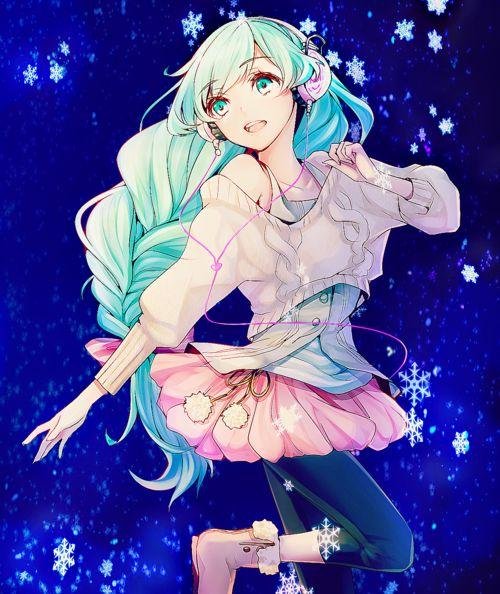 Fille manga cheveux bleu robe