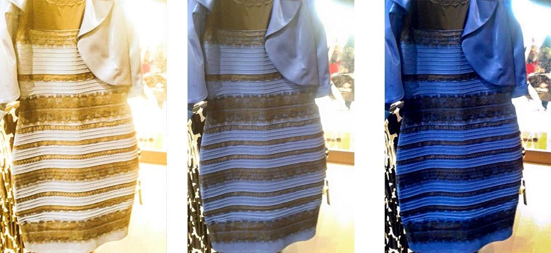 La robe est bleu et noir