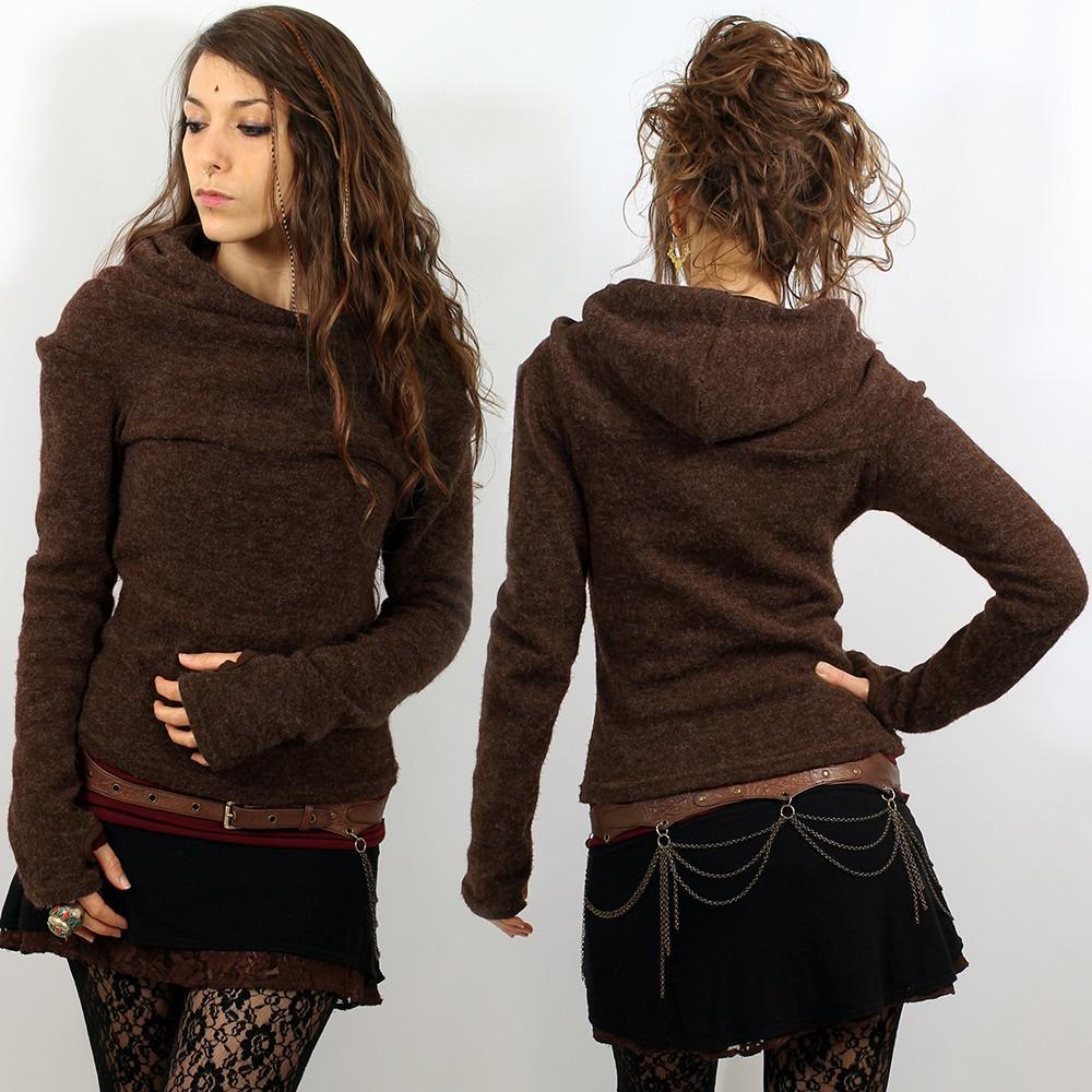 Pull marron chocolat femme