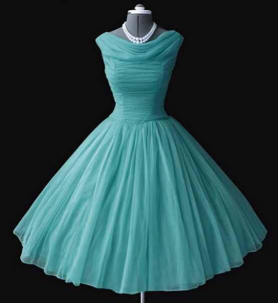 Robe année 50 bleu