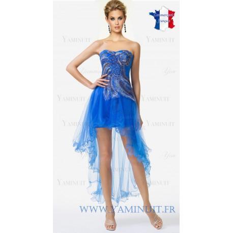 Robe asymétrique bleu