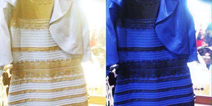 Robe blanche et dorée bleu et noir