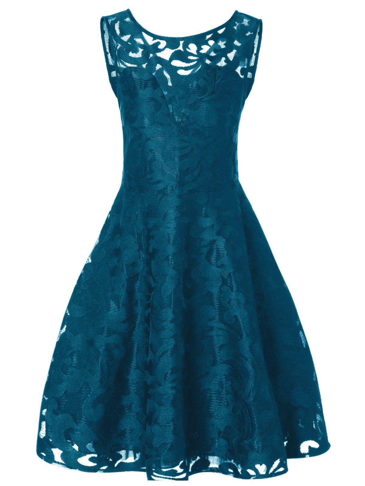 Robe bleu canard dentelle