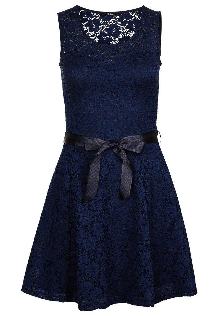 Robe bleu dentelle morgan