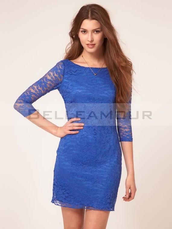Robe bleu electrique dentelle