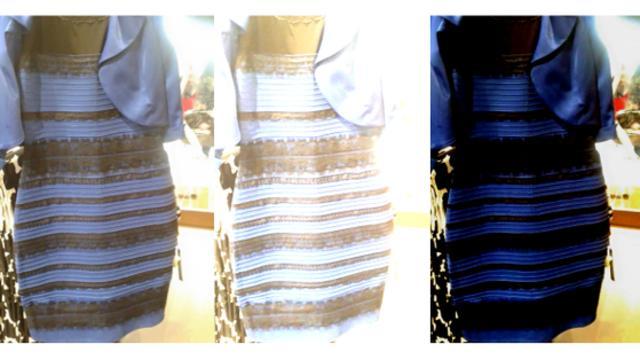Robe bleu et noir ou blanche et or