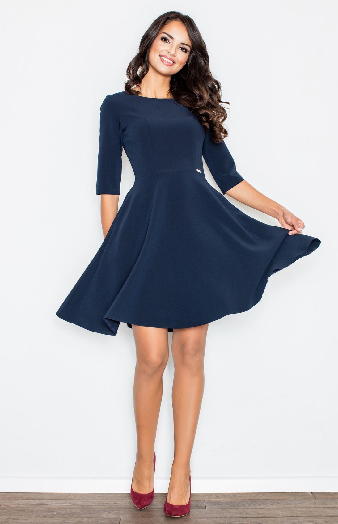 Robe bleu manche 3 4