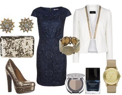 Robe bleu marine accessoires