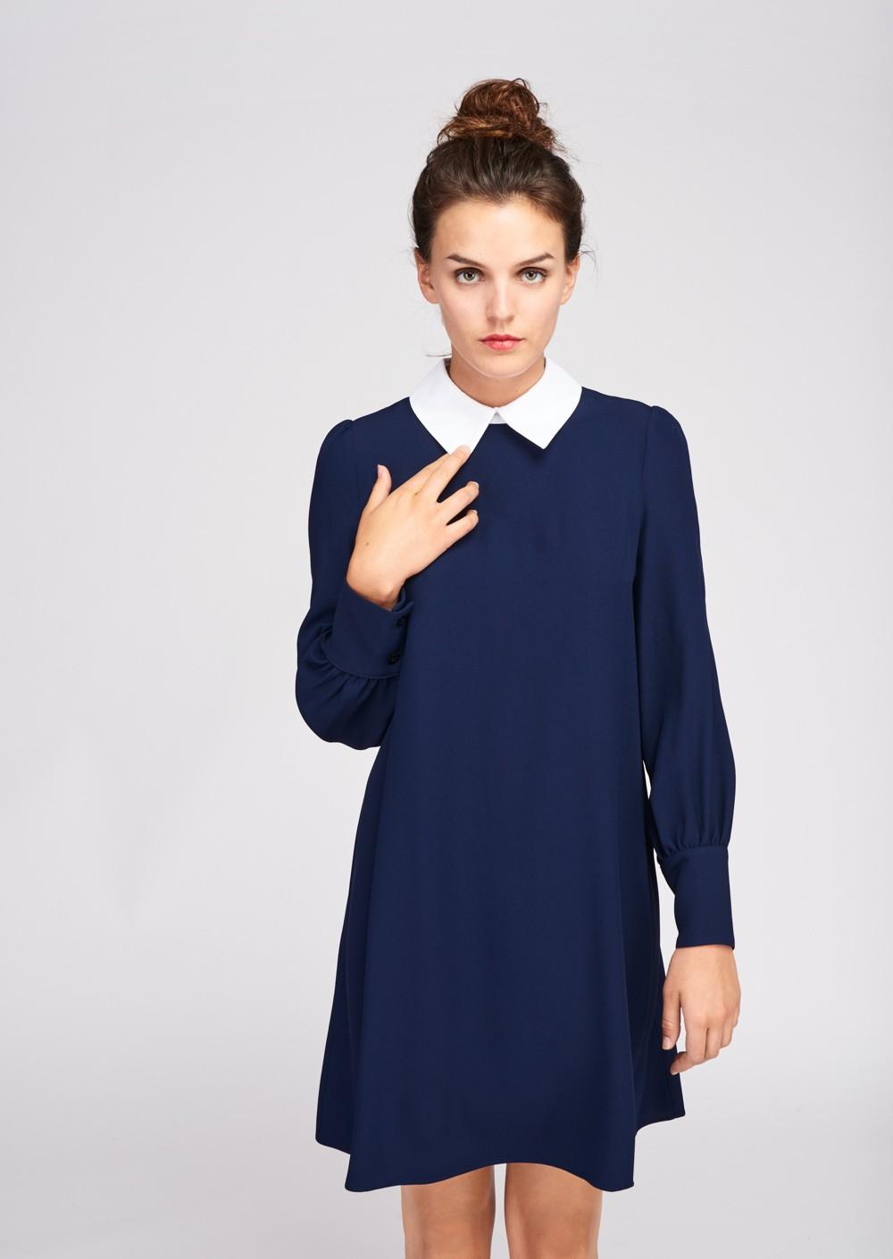Robe bleu marine col claudine