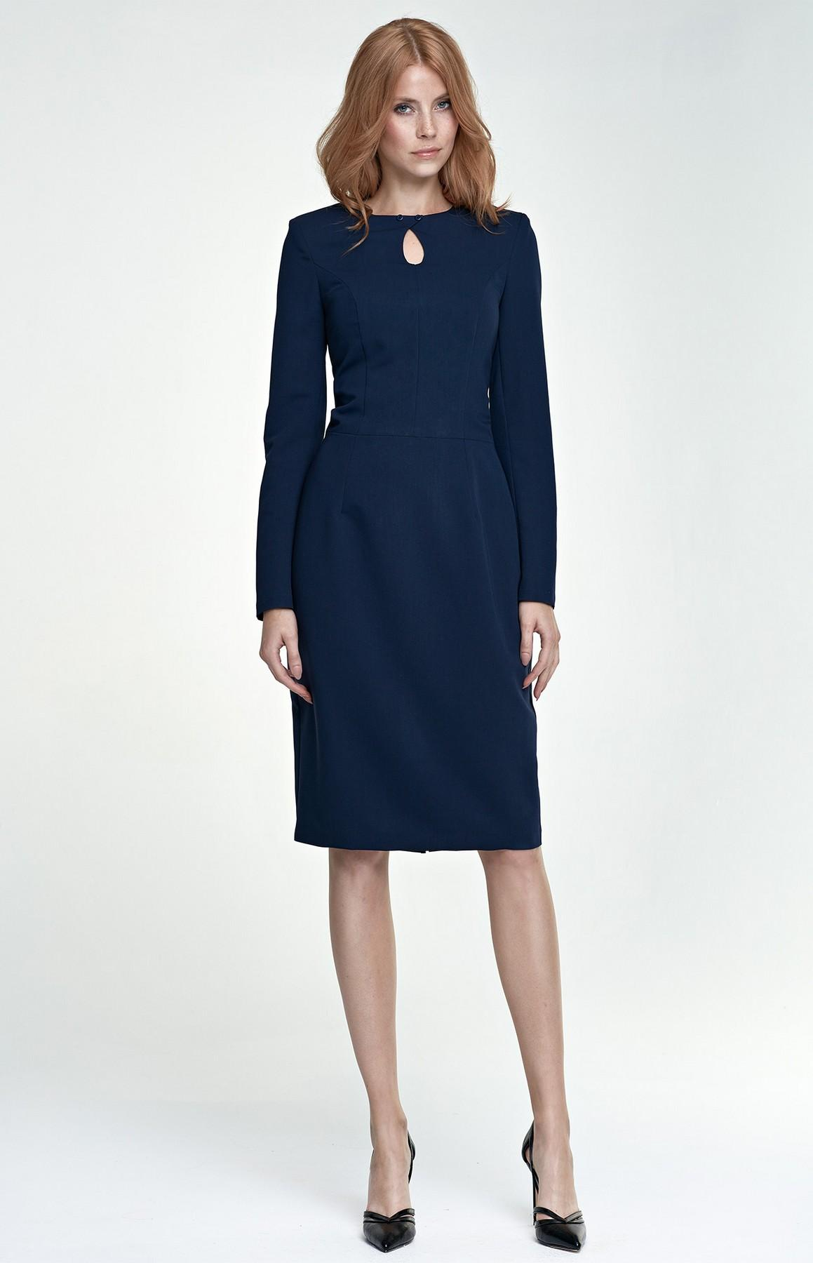 Robe bleu marine manche longue