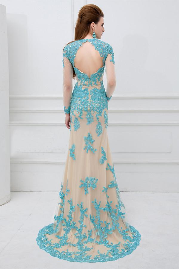 Robe bleu turquoise dentelle