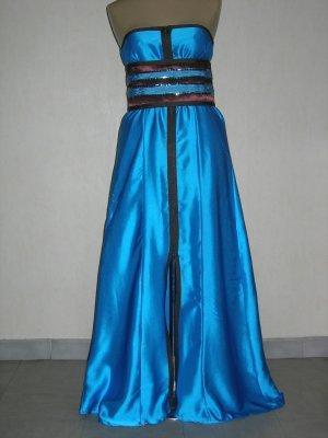 Robe bleu turquoise et marron