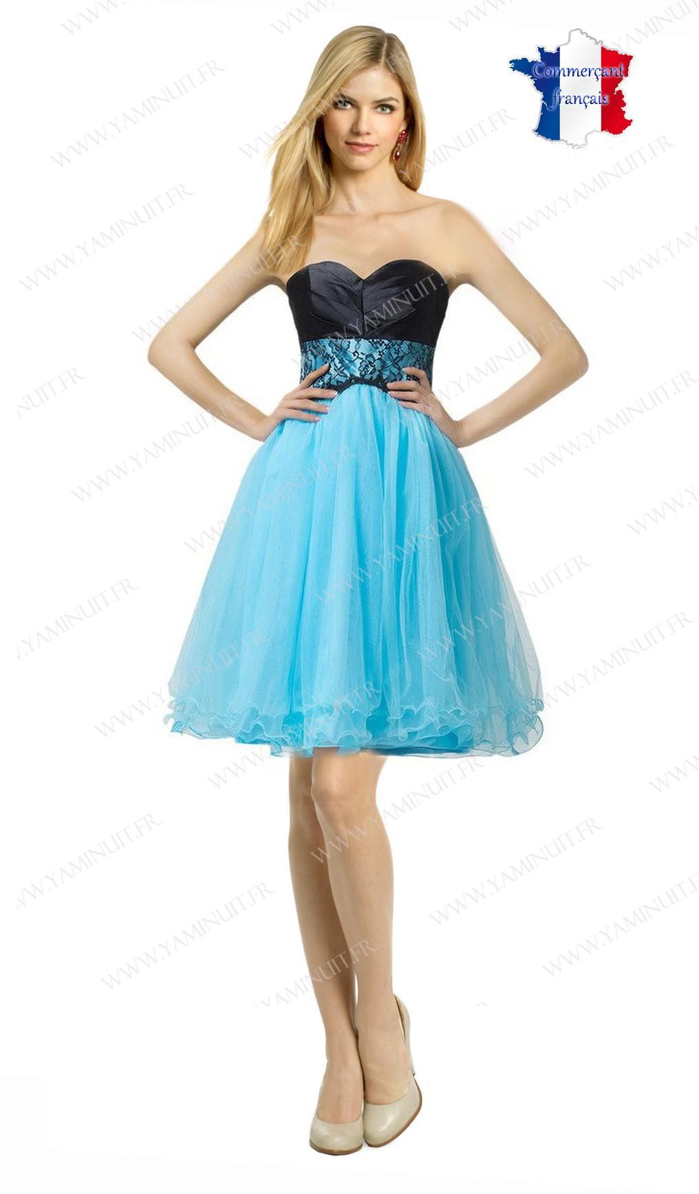 Robe bleu turquoise et noir