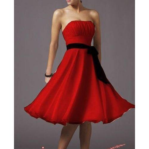 Robe bustier rouge et noir