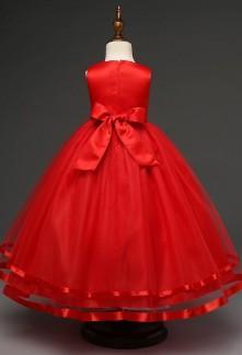 Robe ceremonie fille rouge