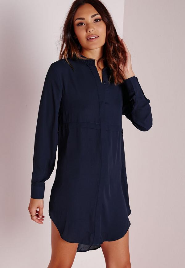 Robe chemisier bleu marine