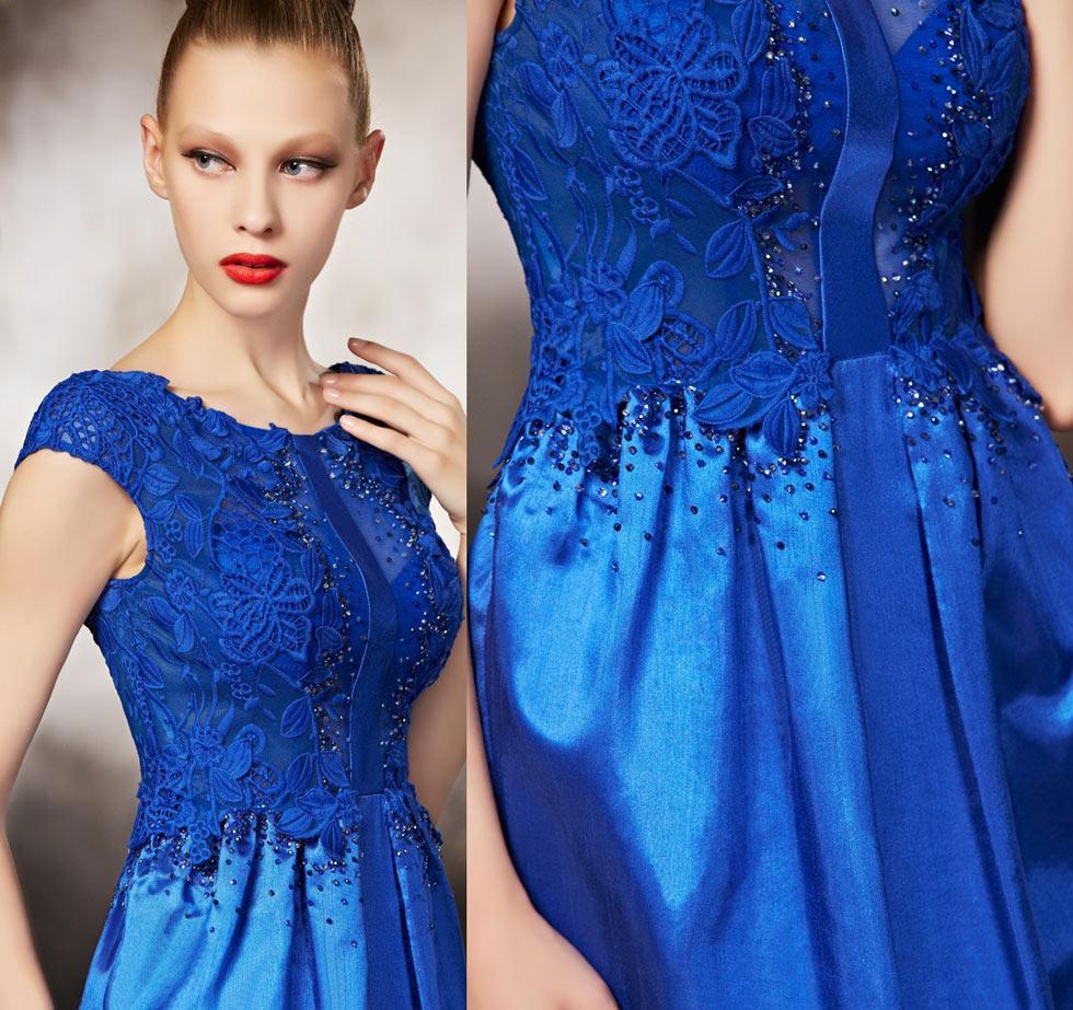 Robe cocktail bleu electrique