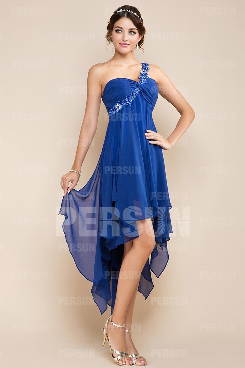 Robe cocktail bleu roi