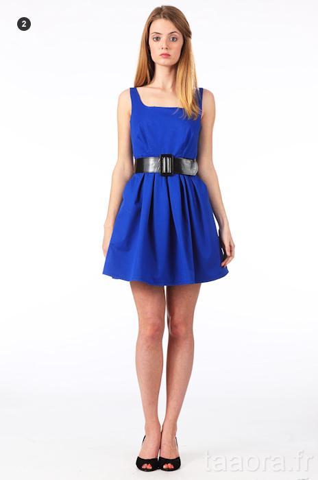 Robe courte bleu electrique