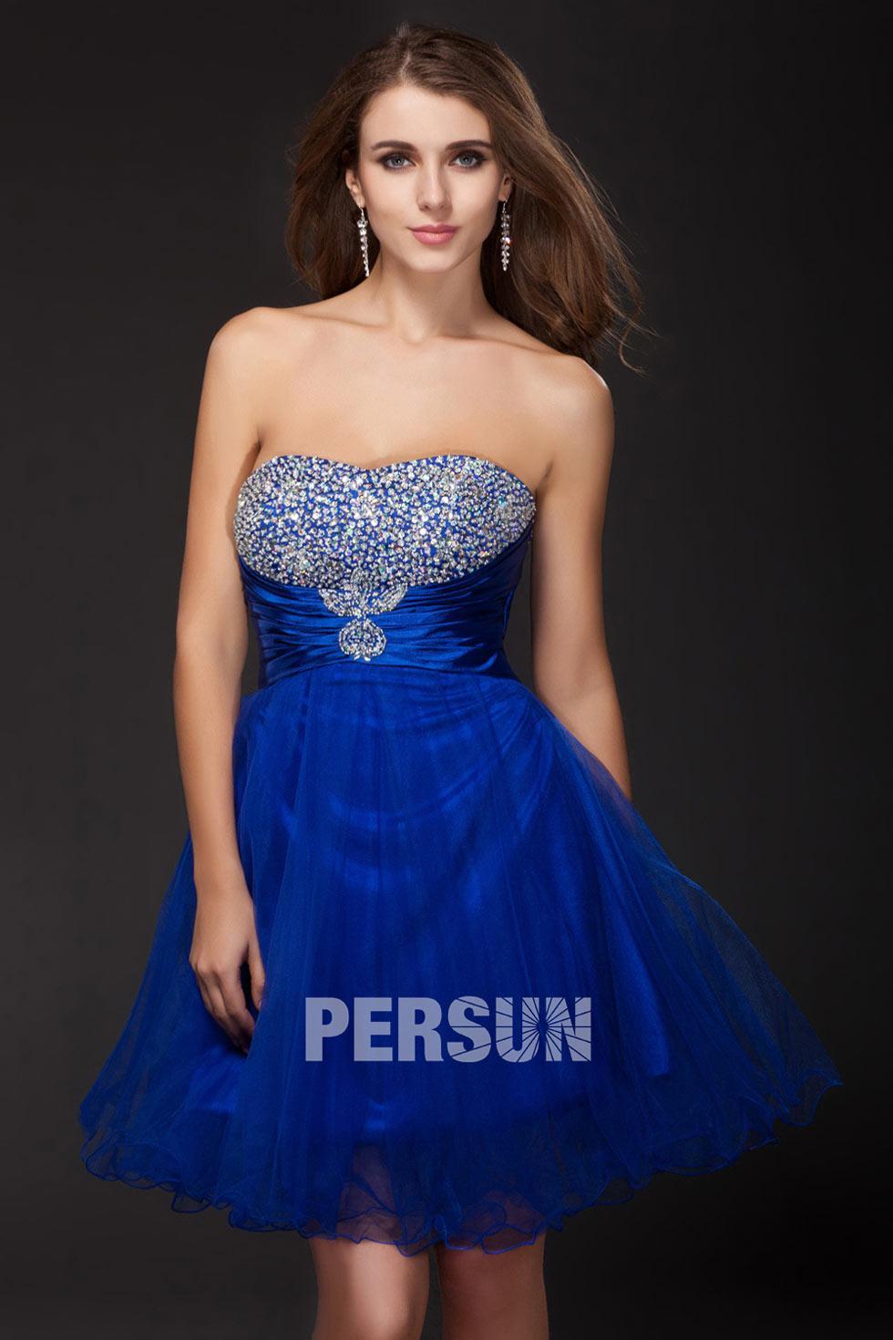 Robe courte bleu roi