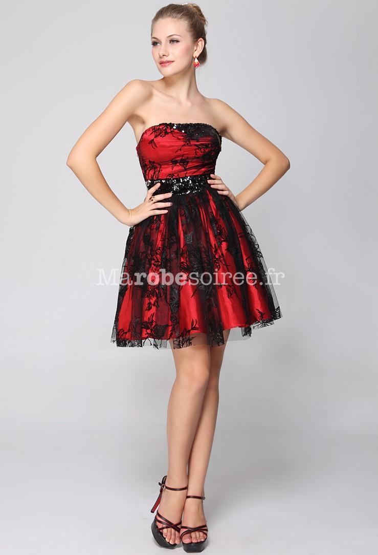 Robe courte de soirée rouge et noir