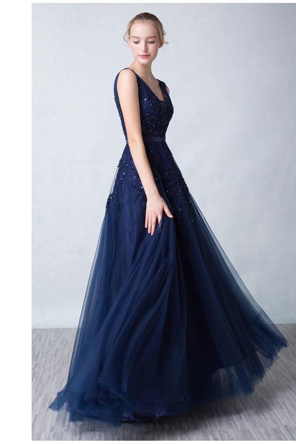 Robe de bal bleu nuit
