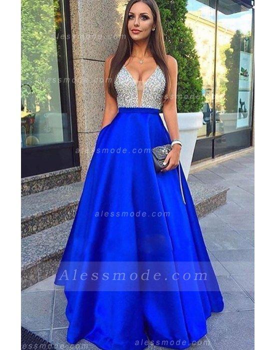 Robe de bal de promo bleu