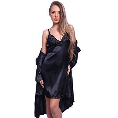 Robe de chambre satin noir