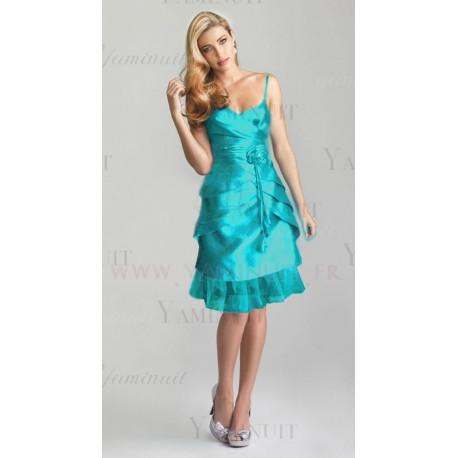 Robe de cocktail bleu turquoise