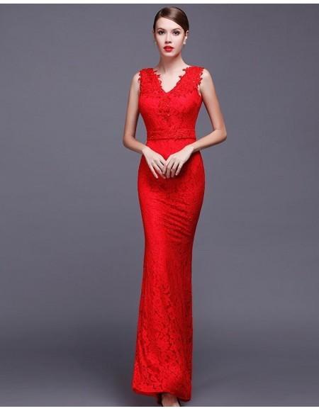 Robe de cocktail longue rouge