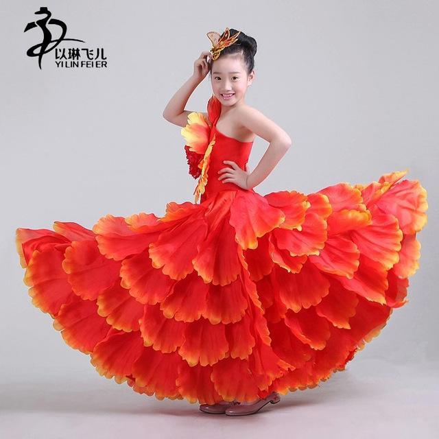 Robe de flamenco rouge