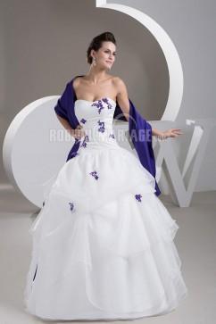 Robe de mariée blanche et bleu