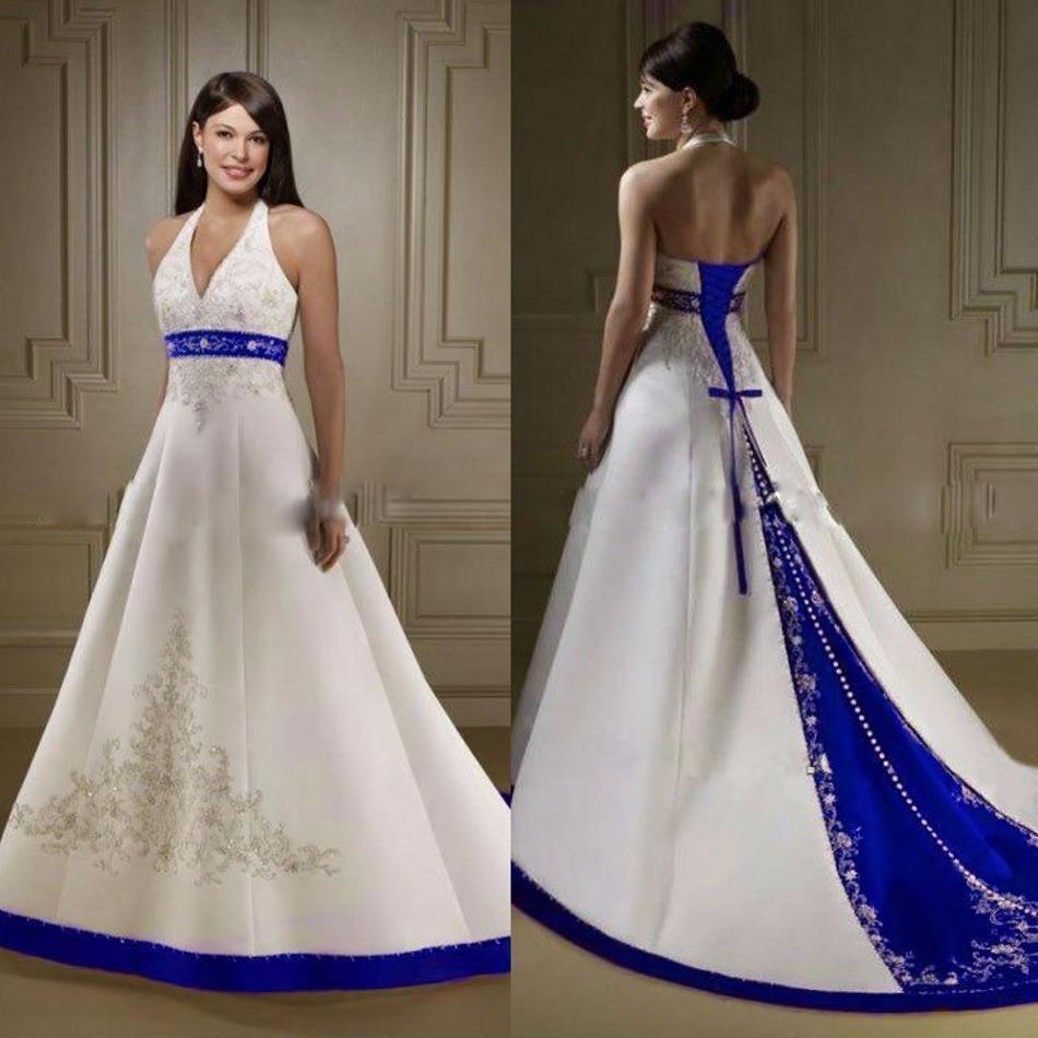 Robe de mariée bleu roi et blanc