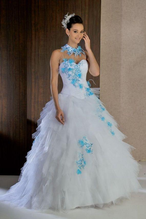 Robe de mariée bleu turquoise chocolat
