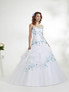 Robe de mariée bleu turquoise et blanc